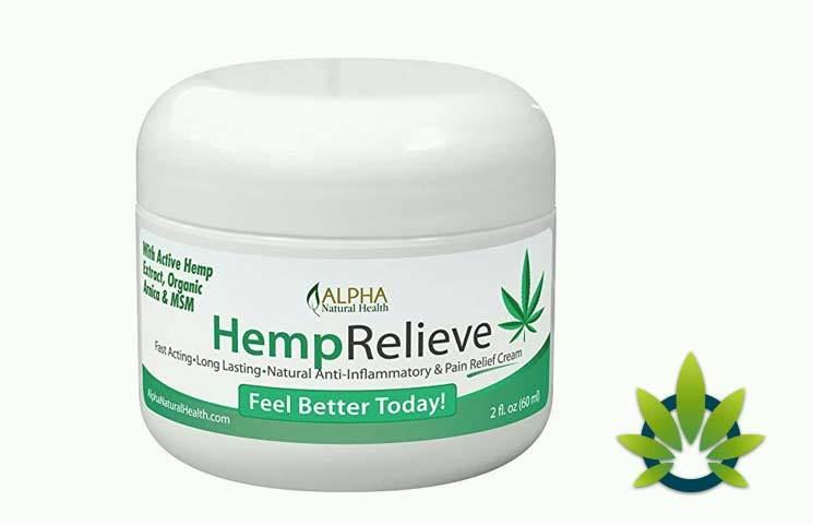 alpha organic hemp extract pain relief cream plus arnica and msm