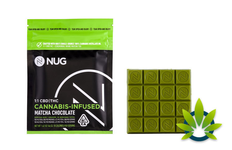 New NUG Cannabis-Infused Matcha White Chocolate Bar with Equal CBD and THC Levels Debuts