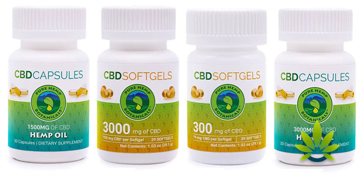 pure hemp botanicals capsules and softgels